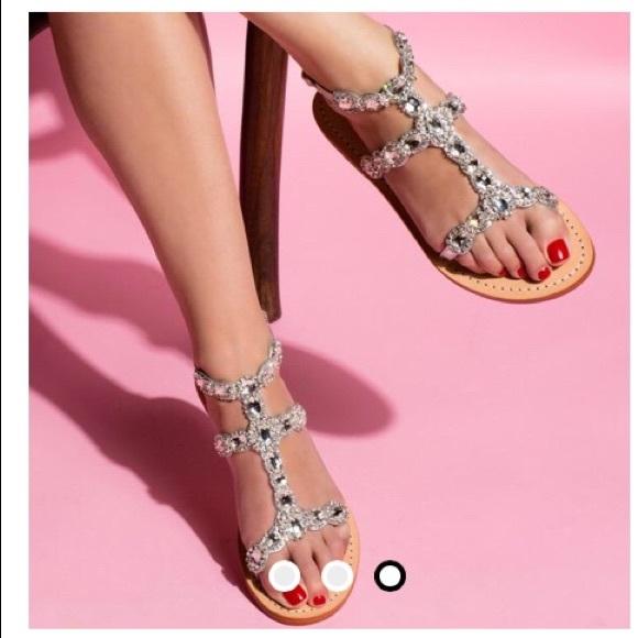 796c43f1559 Trina Turk silver rhinestone flat sandals size 9. M 5a6f8435fcdc3154df6a732f
